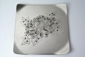 彫金製コースター 菊